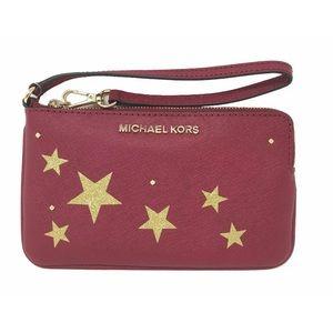 Michael Kors Cherry Red Saffiano Leather Wristlet
